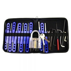 H&H 20 Pieces Lock Picks Set with Transparent Practice Padlock Bundle