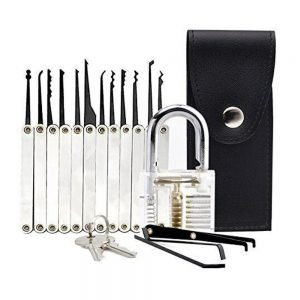 Transparent Practice Lock 12 Piece Lock Pick Set Key Extractor